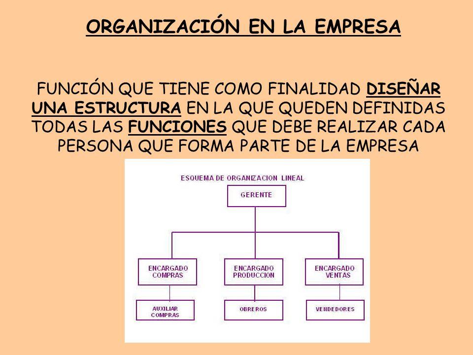 Organización En La Empresa Función Que Tiene Como Finalidad