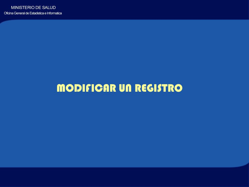 MODIFICAR UN REGISTRO