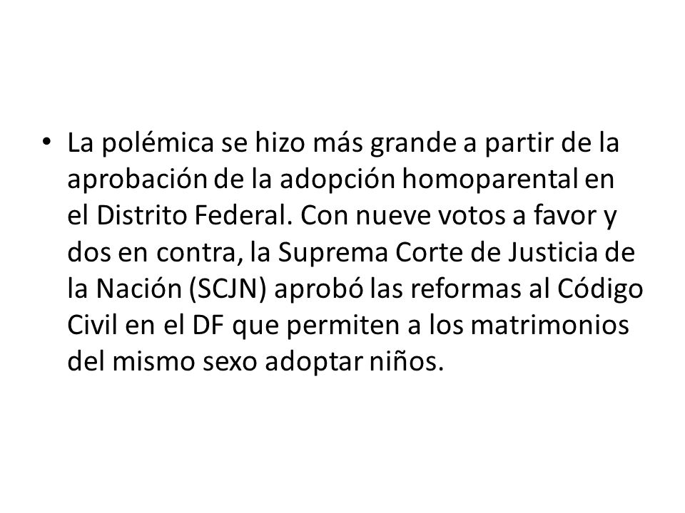 Debate sobre la adopcion homosexual a favor