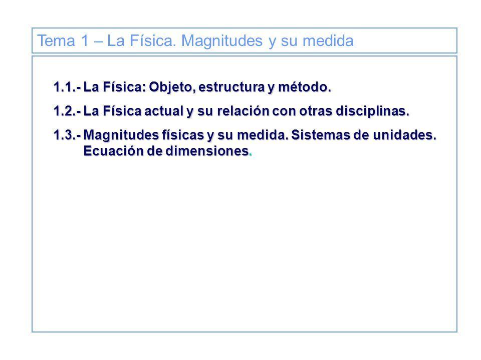 Tema 1 La Física Magnitudes Y Su Medida La Física Objeto
