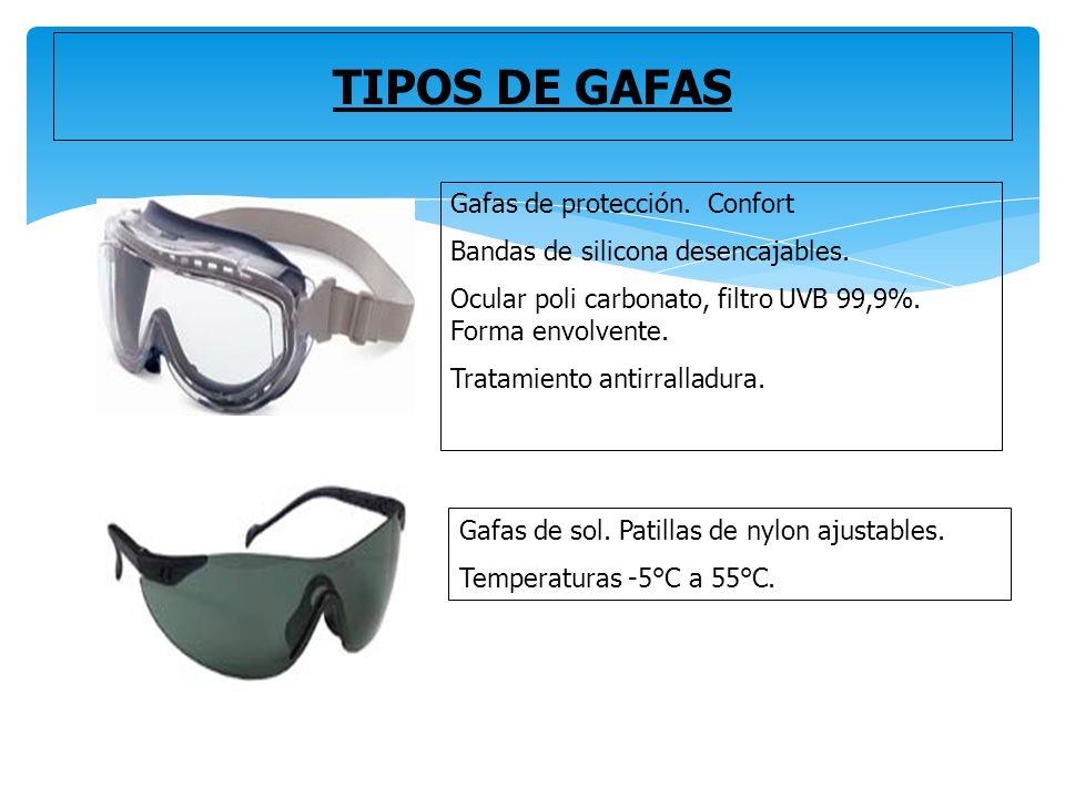 45ad1b6c03 TIPOS DE GAFAS Gafas de protección. Confort Bandas de silicona  desencajables.