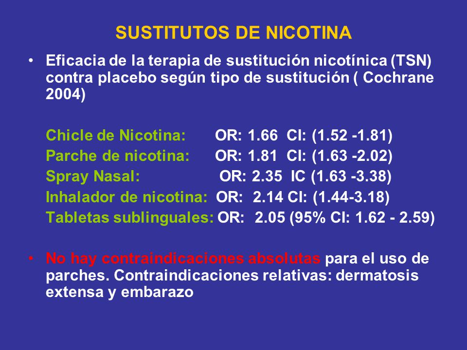 SUSTITUTOS DE NICOTINA Eficacia de la terapia de sustitución nicotínica (TSN) contra placebo según tipo de sustitución ( Cochrane 2004) Chicle de Nicotina: OR: 1.66 CI: ( ) Parche de nicotina: OR: 1.81 CI: ( ) Spray Nasal: OR: 2.35 IC ( ) Inhalador de nicotina: OR: 2.14 CI: ( ) Tabletas sublinguales: OR: 2.05 (95% CI: ) No hay contraindicaciones absolutas para el uso de parches.