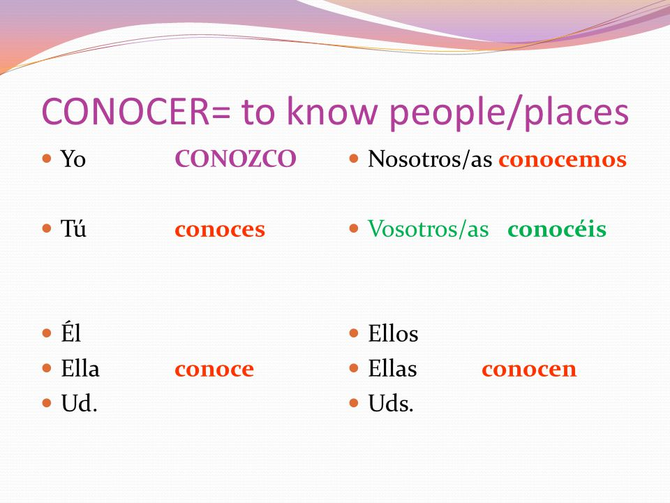 CONOCER= to know people/places YoCONOZCO Túconoces Él Ellaconoce Ud.