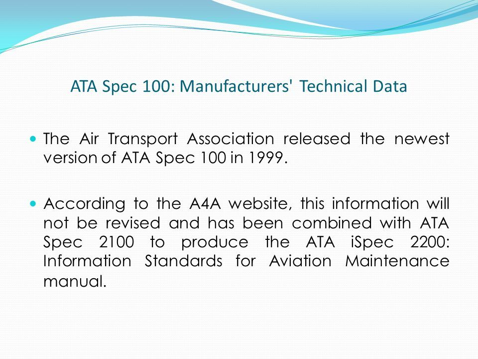 ATA Spec 100: Manufacturers' Technical Data The Air