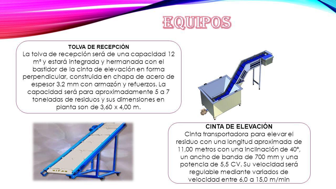 TOLVA DE RECEPCIÓN La tolva de recepción será de una capacidad 12 m³ ...