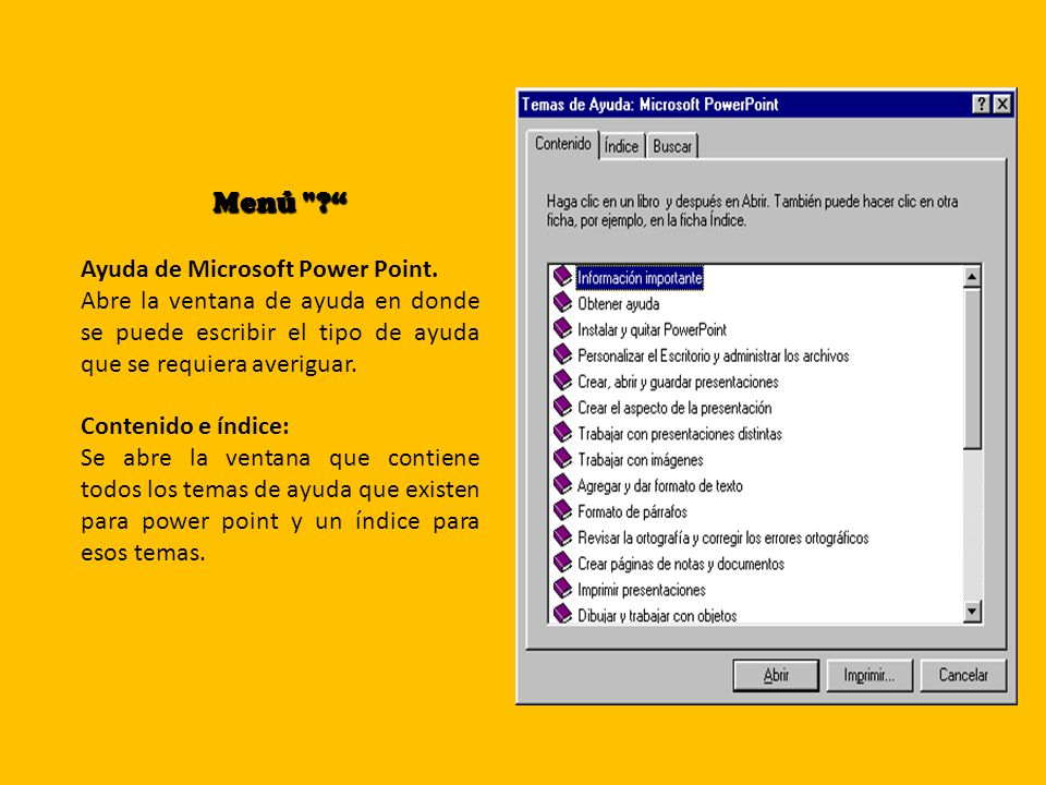 Menú Ayuda de Microsoft Power Point.