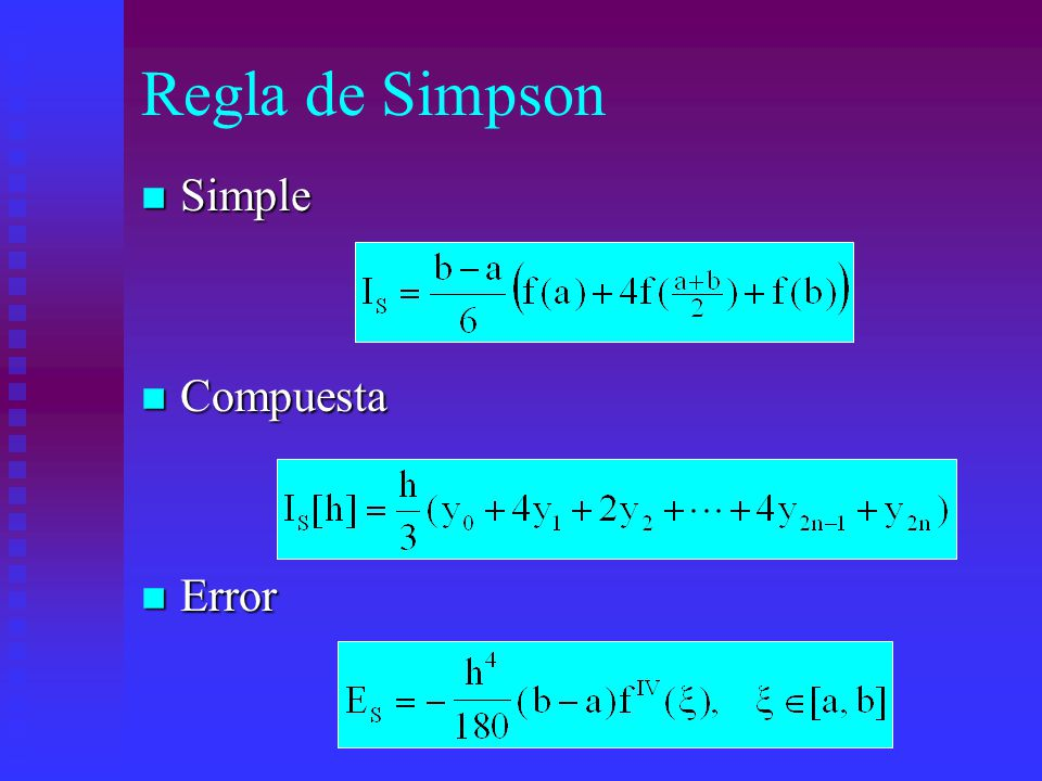 Regla de Simpson n Simple n Compuesta n Error