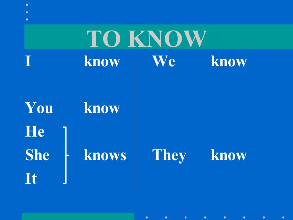 SABER SABER means…. To Know We use SABER to talk about knowing facts or information.