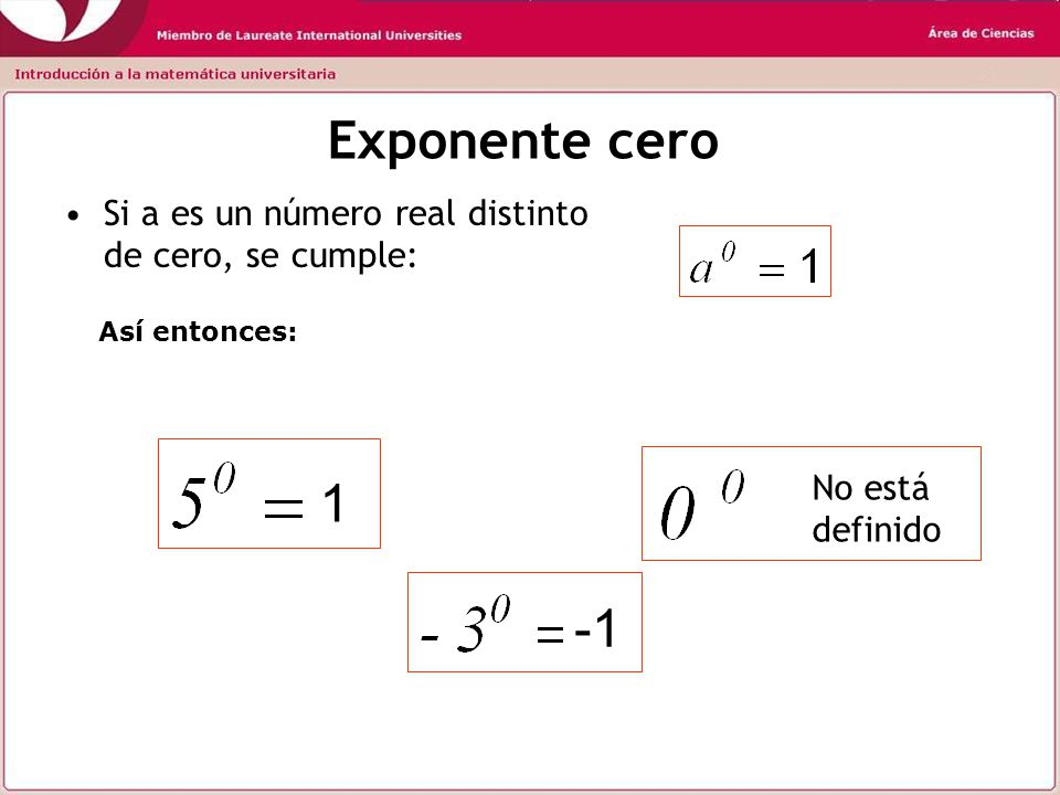 x n = x.x.x…....x n factores Exponente Natural Base Exponente entero