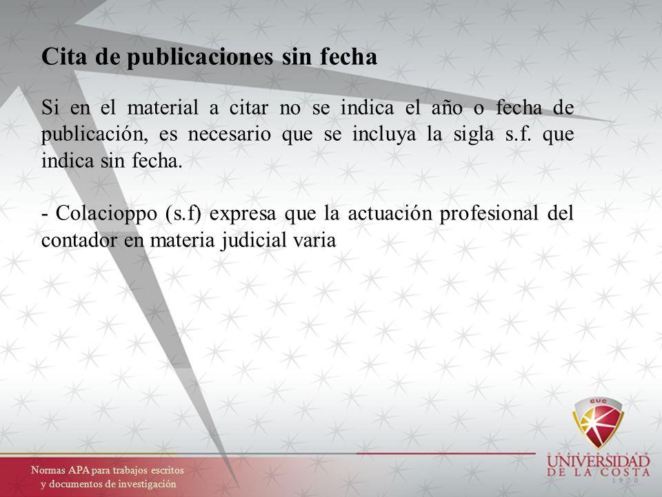 Normas Apa Sexta Edición Normas Para Trabajos Escritos Y
