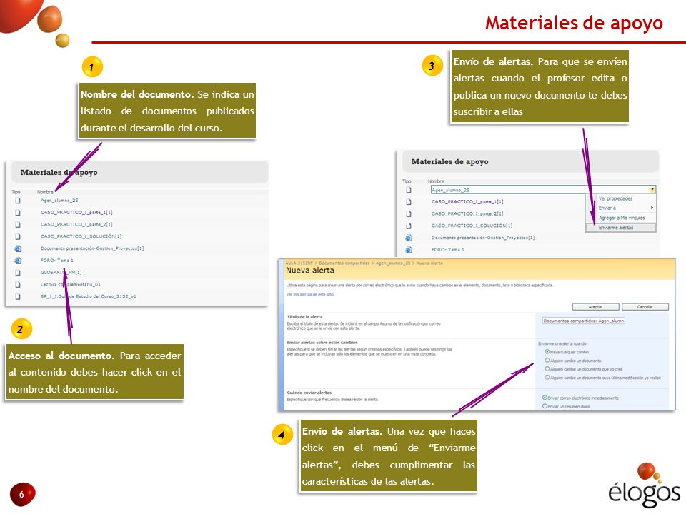Materiales de apoyo 6 Acceso al documento.